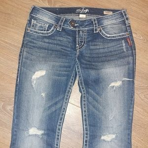 Silver jeans   boot cut Tuesday distressed jeans